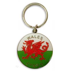 Wales Flag Round Metal Keyring