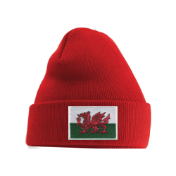Welsh Flag Beanie Hat Red