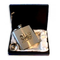 Wales Pewter Badged Hip Flask